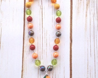 Adult Fall Chunky Necklace with Pumpkin Pendant