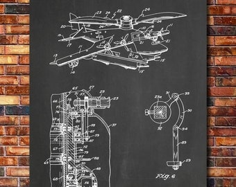 Helicopter Patent Print Art 1944