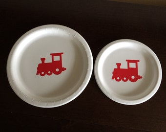 Locomotive Birthday - Train Plates - Choo Choo Birthday - Conductor Party Plates - Train Party Supplies - Transportation Party - All Aboard