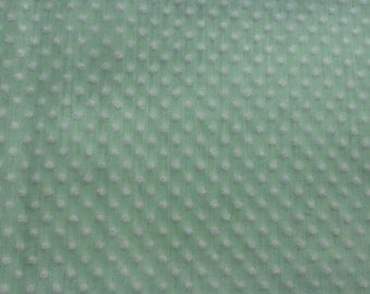 """Vintage Dotted Swiss cotton fabric. Light green with white flocked dots. By the yard. 44"""" wide."""