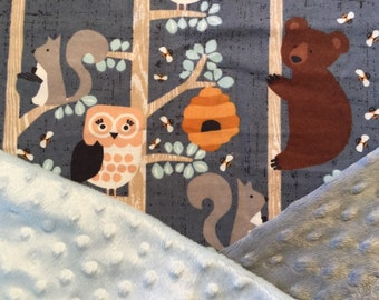 Personalized Minky Baby Blanket, Forest Animals, Bears, Owls, and Squirrels Minky Baby Blanket