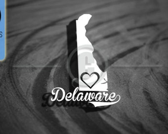 Love Delaware State - Car Vinyl Decal
