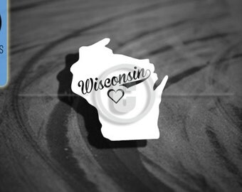 Love Wisconsin State - Car Vinyl Decal