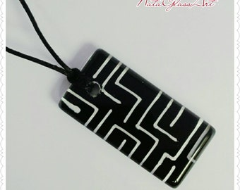 Hand painted Black and White glass pendant necklace
