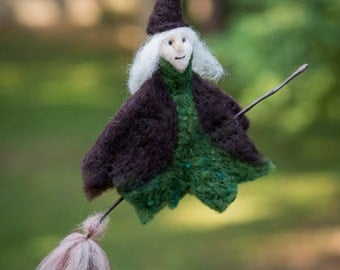 Witch needle felted handmade wool hanging ornament