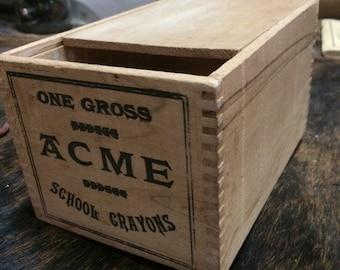 Acme crayon wood box