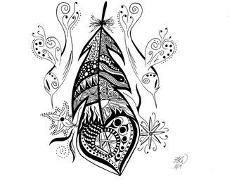 Hummingbird Feather - Fine Art Print - Unique Zentangle Wall Art
