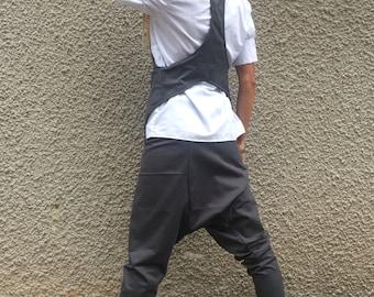 Grey Loose Elegant Set, High Waist Harem Pants, Extravagant Cotton Vest, Casual Oversize Set by SSDfashion