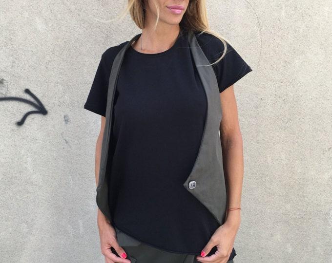New Extravagant Asymmetric Sleeveless Vest, Military Maxi Top Vest, Plus Size Clothing by SSDfashion