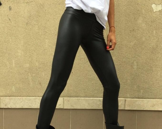 Black Leather Legging, Elegant Long Pants, Yoga Tight-fitting Leggings, Fashion Pants, Woman's Leggings by SSDfashion