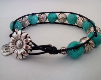 Turquoise and Silver Beaded Leather single Wrap Bracelet with Sunflower button