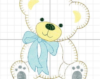 Bear applique machine embroidery