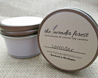 lavender // hand-poured 4oz jelly jar soy candle // natural soy wax // highly scented // rustic