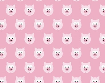 Cotton Fabric Pigs on Pink - Pink, Light Pink, White - Yard, Fat Quarter