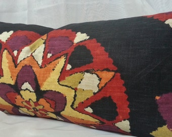 Decorative Suzani Lumbar Pillow Cover with Richloom Designer Fabric / 12 x 26