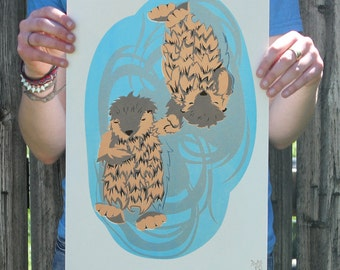Otters Buddy System Screen Printed Poster