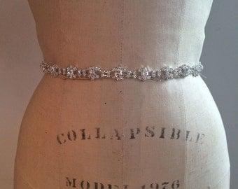 Elegant, Vintage Inspired Small Rhinestone Bridal Sash-Rhinestone Bridal Sash-Rhinestone Bridal Belt-Beaded Bridal Sash -Beaded Bridal Belt