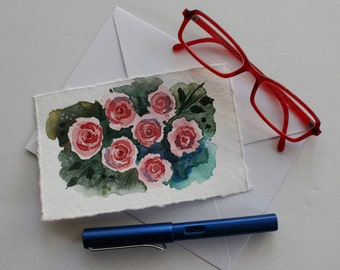 Handpainted Original Watercolor Postcard