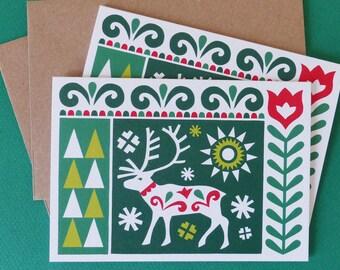 2 x Scandinavian Reindeer Blank Christmas Cards Folk Art Fran Wood Design