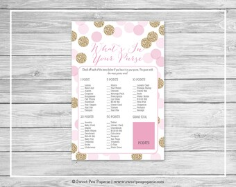 Pink and Gold Baby Shower What's In Your Purse Game - Printable Baby Shower What's In Your Purse - Pink and Gold Glitter Baby Shower - SP106