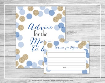 Blue and Gold Baby Shower Advice for Mom Cards - Printable Baby Shower Advice for Mom Cards - Blue and Gold Glitter Baby Shower - SP107