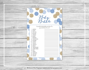 Blue and Gold Baby Shower Baby Babble Game - Printable Baby Shower Baby Babble Game - Blue and Glitter Baby Shower - Word Scramble - SP107
