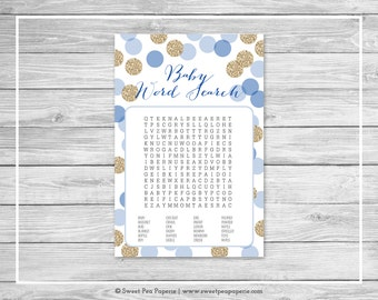 Blue and Gold Baby Shower Baby Word Search Game - Printable Baby Shower Baby Word Search Game - Blue and Gold Glitter Baby Shower - SP107