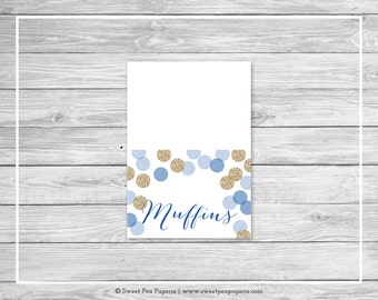 Blue and Gold Baby Shower Buffet Labels - Printable Baby Shower Buffet Labels - Blue and Gold Glitter Baby Shower - EDITABLE - SP107