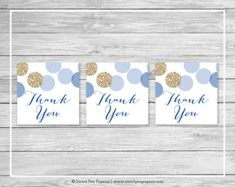Blue and Gold Baby Shower Favor Thank You Tags - Printable Baby Shower Thank You Tags - Blue and Glitter Baby Shower - Favor Tags - SP107