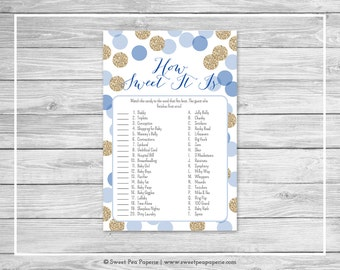 Blue and Gold Baby Shower How Sweet It Is Game - Printable Baby Shower How Sweet It Is Game - Blue and Gold Glitter Baby Shower - SP107