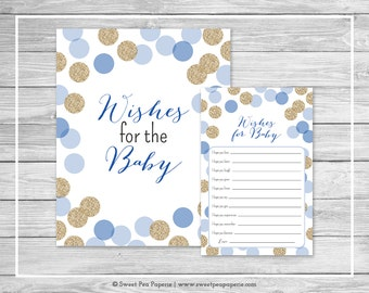 Blue and Gold Baby Shower Wishes for Baby Cards - Printable Baby Shower Wishes for Baby Cards - Blue and Gold Glitter Baby Shower - SP107