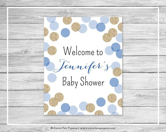 blue and gold baby shower welcome sign printable baby shower welcome