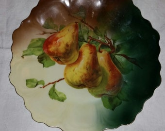 Vintage China Wall Plaque Plate or charger with Pear Tree and Leaf Design