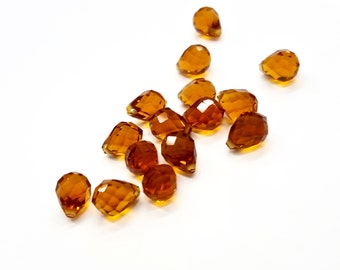 20 Pieces Glass Smokey Topaz Briolette Drop Pendants, Faceted, Vintage, 6x8mm, Fall