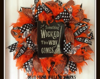 Halloween Wreath, Halloween Wreaths, Witch Wreath, Wicked Wreath, Mesh Wreaths, Fall Wreath, Autumn Wreath, Deco Mesh Wreath, Paper Mesh