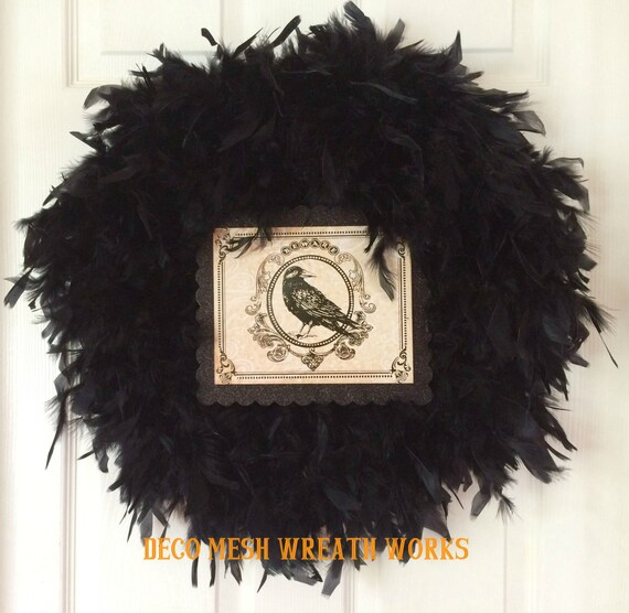 Black Flower And Crow Halloween Wreath: Halloween Wreath Black Feather Wreath Crow By