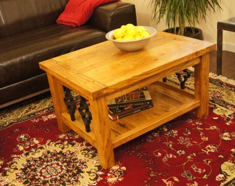 Coffee Table Made with Solid, Reclaimed Oak and  Gothic Cast Iron Spindles