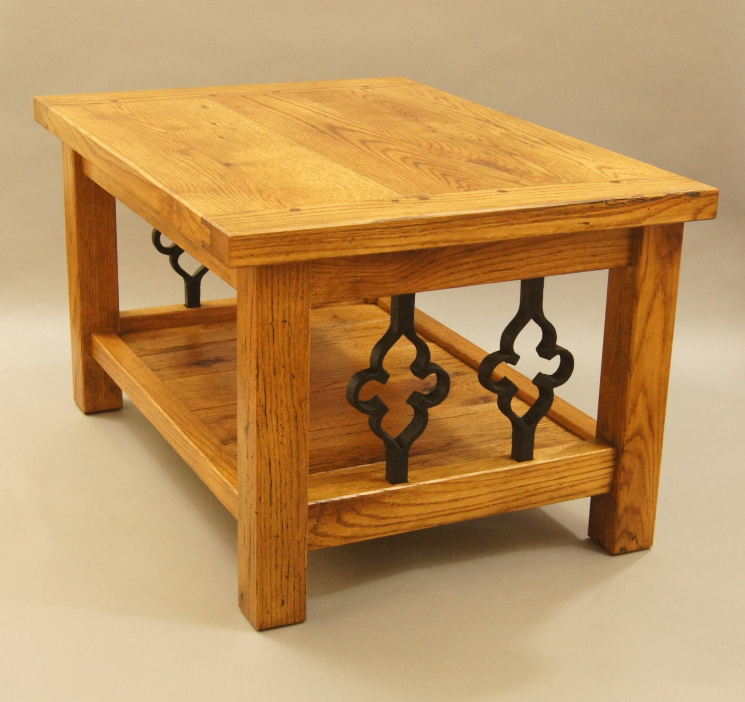 Coffee Table Made with Solid Reclaimed Oak and Gothic Cast Iron