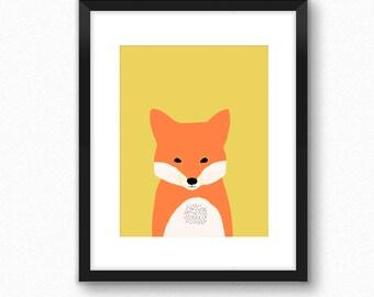 Woodland nursery decor, fox print, woodland animal print, nurser wall decor, art for kids, children wall decoration