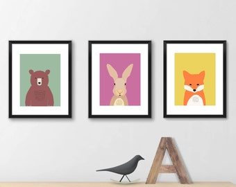 Woodland nursery decor 613, print set of 3, animal art, nursery wall decor, art for kids, gender neutral nursery decor