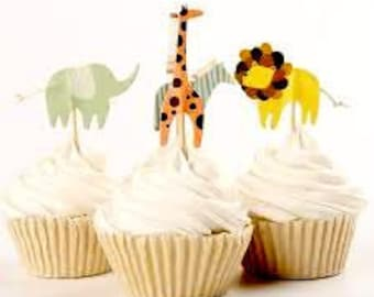 Zoo Animal Cupcake Toppers- Giraffe, Lion, Elephant, Zebra- Cake Decoration, Party Supplies Wild Animals