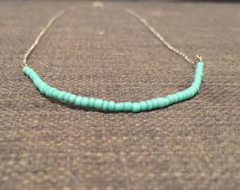 Sterling silver long chain with turquoise beads