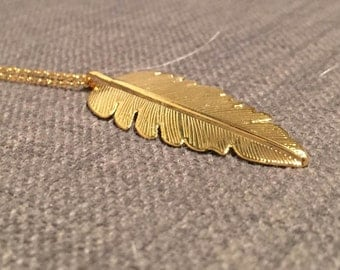 Gold filled handmade feather pendant necklace, long, single clasp
