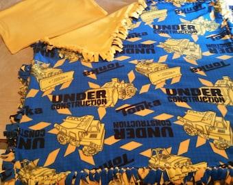 Tonka Truck Fleece Blanket with FREE Matching Pillowcase