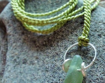 Sterling Silver and Seaglass Simple Pendant