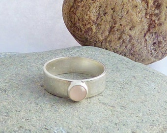 Sterling Silver Ring with Bezel Set Rose Quartz