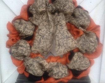 Halloween wreath, fall wreath, harvey wreath, burlap wreath, script