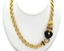 "Fantastic 18k Yellow Gold Theorema Amethyst Purple Enamel Link Chain Heart Necklace 34"""