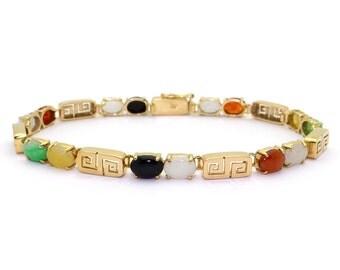"14k Yellow Gold Multi Color Jade Bracelet Lavender Green Orange 7"""