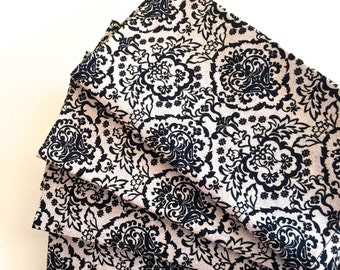 Day of the Dead Calavera Damask Cream-Black Cotton Print. Autumn Dinner Napkins,  Set of 4.  Everyday Lux, Eco Friendly.